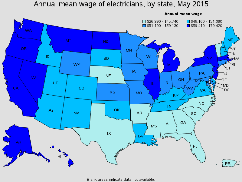 Electrician Wages State by State
