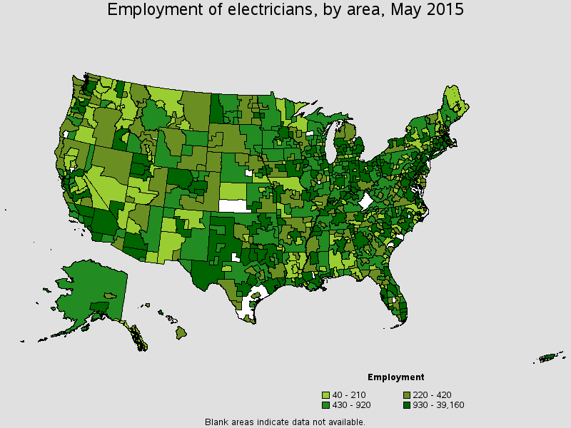 Electrician's Employment by state