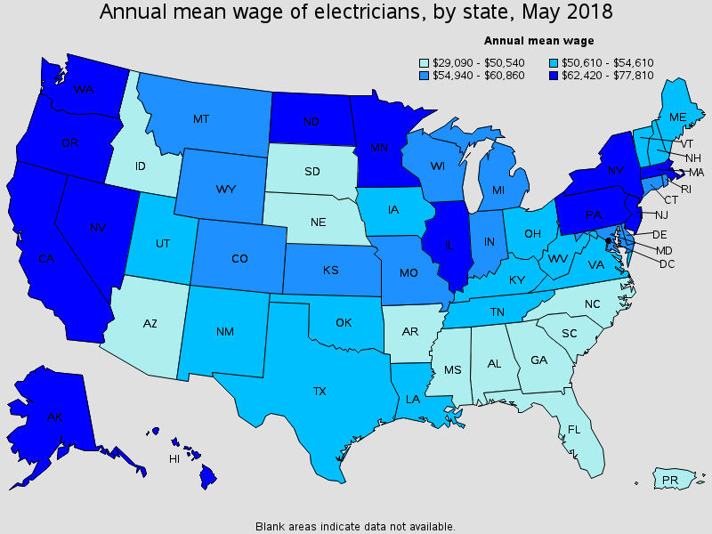 Electrician Wages by State