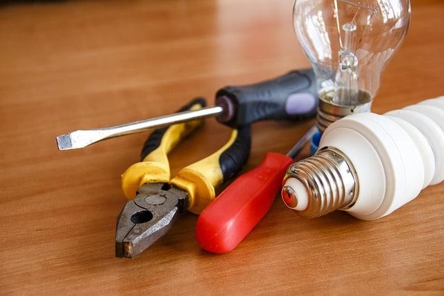 tools and lightbulb